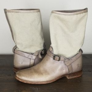 FRYE Melissa Short Tan Leather Canvas Boots 6.5